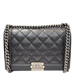 Chanel Boy Double Stitch Flap Medium Black Handbag